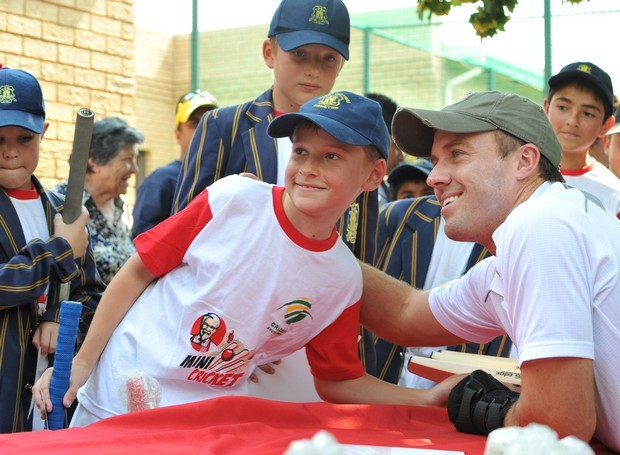 AB de Villiers during Coaching session at Marist Brothers College