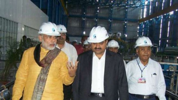 Modi and Adani at Adani Group Factory