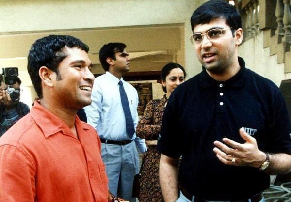 Vishy Anand With Sachin Tendulkar