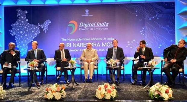 Sundar Pichai at Digital India Summit Along with Narendra Modi, Satya Nadella and Other CEOs