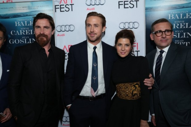 Christian Bale, Marisa Tomei, Steve Carell and Ryan Gosling at event of The Big Short