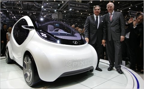 Ratan Tata and Carl-Peter Forster with Tata Pixel Car at Geneva Motor Show