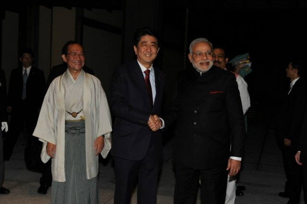 Modi with Japan's Prime Minister Abe During His Visit to Japan