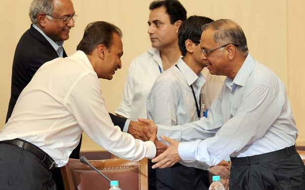Narayana Murthy Shaking Hands with Anil Ambani