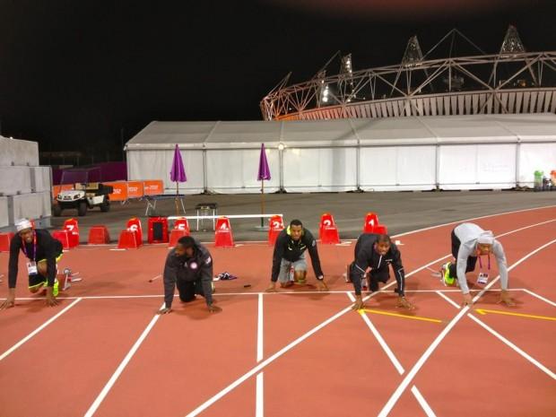 Kobe at Olympic Village Beijing Posing at Running Stands