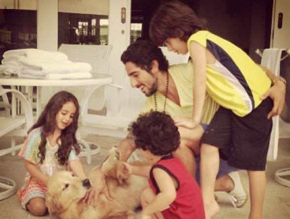 Marcos Mion Playing With His Kids and Dog