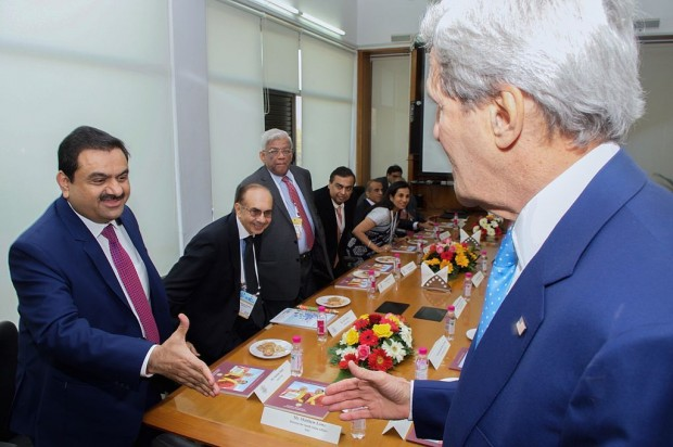 Gautam Adani greets Secretary of State John Kerry