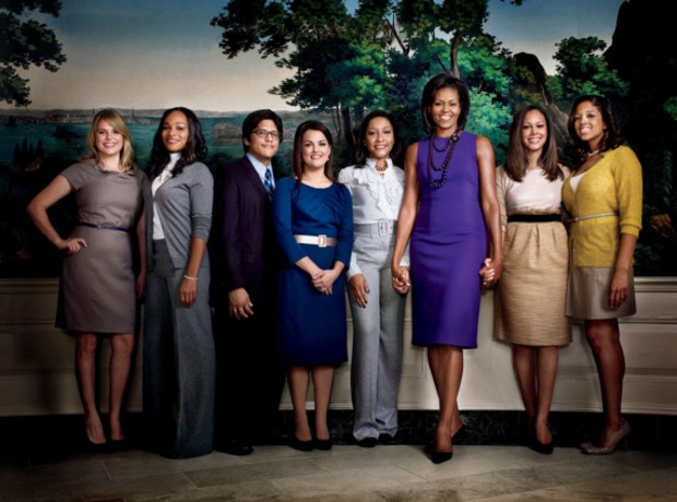 Michelle Obama With White House Interns