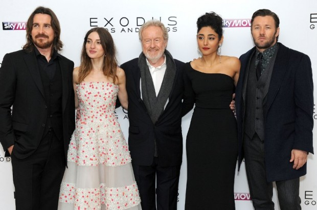 Christian Bale, Ridley Scott, Joel Edgerton, Golshifteh Farahani and María Valverde at event of Exodus