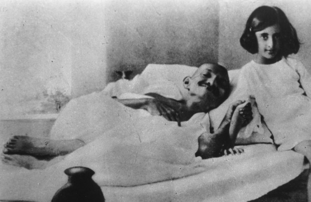 Young Indira Gandhi with Mahatma Gandhi