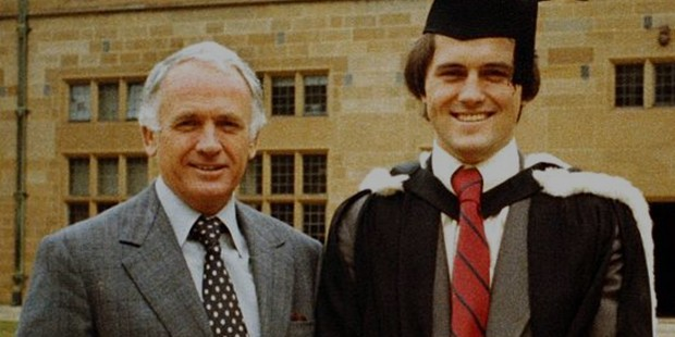 Malcolm Turnbull with his father Bruce after graduating with a law degree at Sydney University