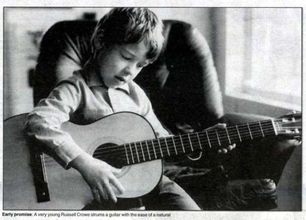 Childhood Photo of Russell Crowe Playing Guitar