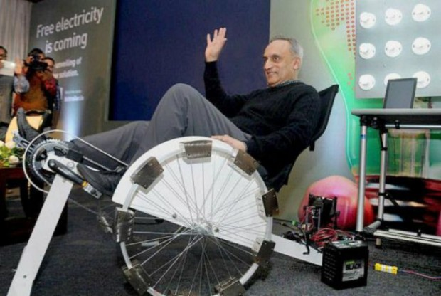 Manoj Bhargava Introducing a Bicycle That Produces Electricity