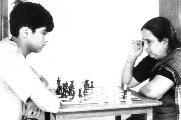 Viswanathan Anand Playing Chess With His Mother