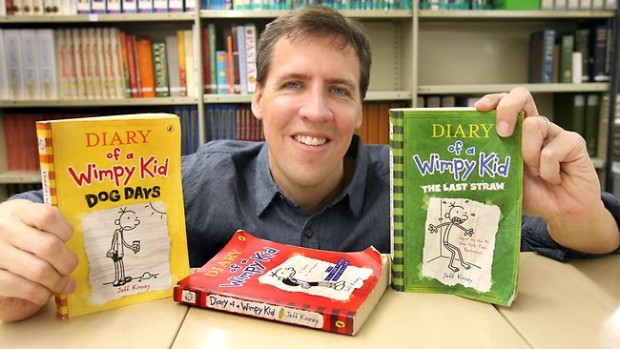 Jeff Kinney with His Award Winning Books