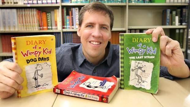 Jeff Kinney with His Award Winning Books