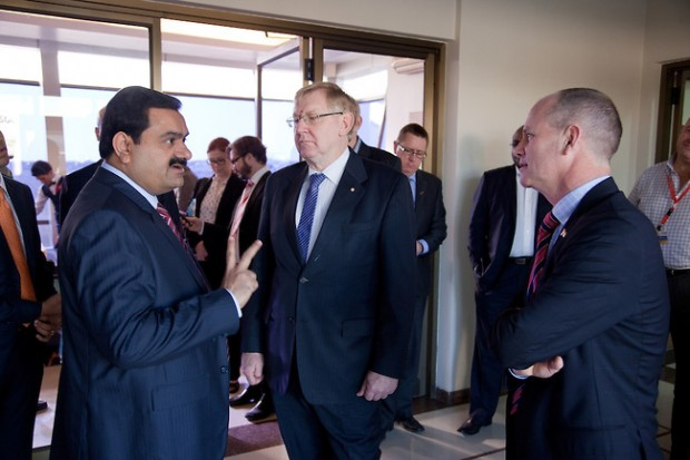 Gautam Adani with Campbell Newman and Martin Ferguson