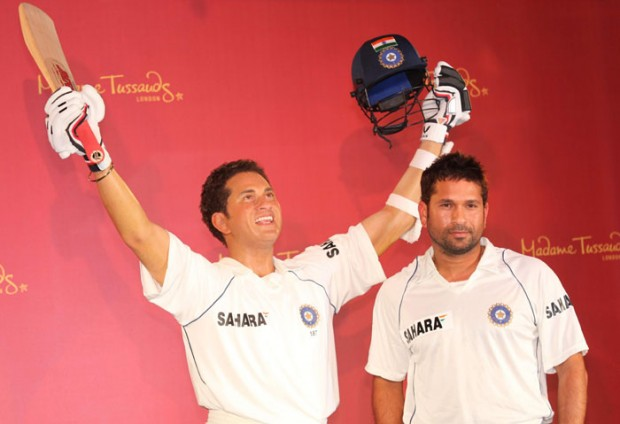 Sachin Standing Beside with His Wax Statue