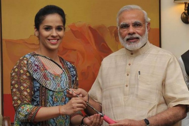 Saina Nehwal Presented Her Racquet to Indian PM Narendra Modi on His Birthday