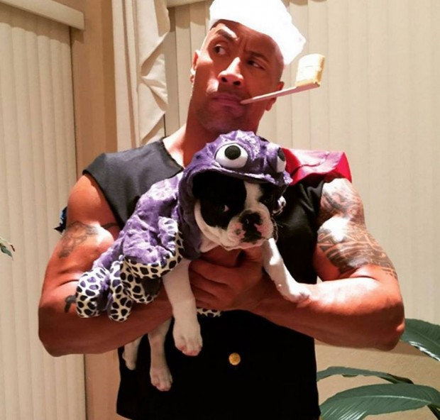 Rock with His Pet Dog