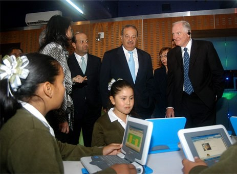 Carlos Slim at public school in Mexico