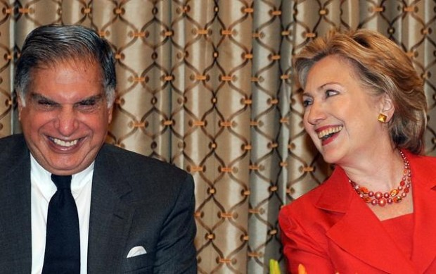 Hillary Rodham Clinton with Ratan Tata