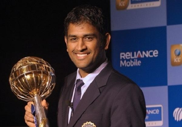 Dhoni with ICC Player of The Year Award