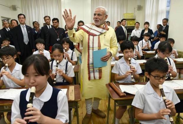 Narendra Modi at At Taimei Elementary School, Tokyo