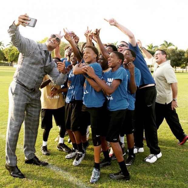 Dwayne Johnson Taking Selfie with Young Ballers
