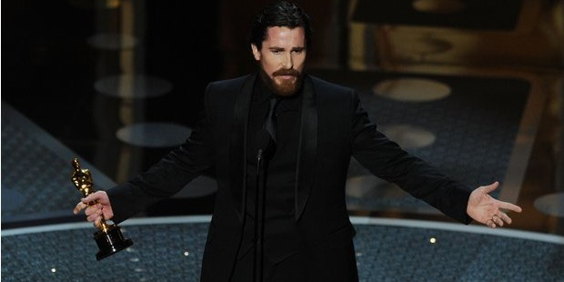 Christian Bale with His Academy Award