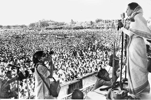 Indira Gandhi Addressing Rally at Ramlila Maidan
