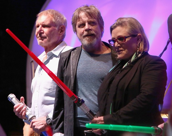 Harrison Ford with Star wars Co-Stars Holding Their Weapons at San Diego Comic Con