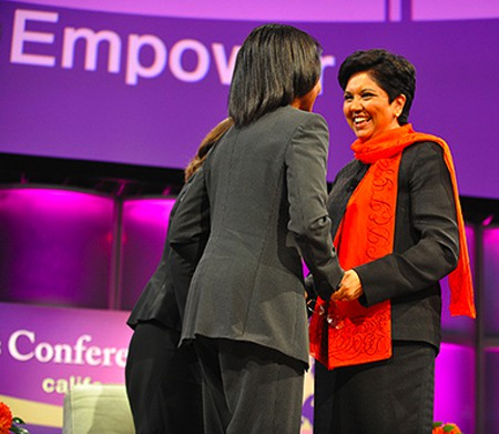 Indra Krishnamurthy Nooyi and Condoleeza Rice at Maria Shriver's 2008 Women's Conference