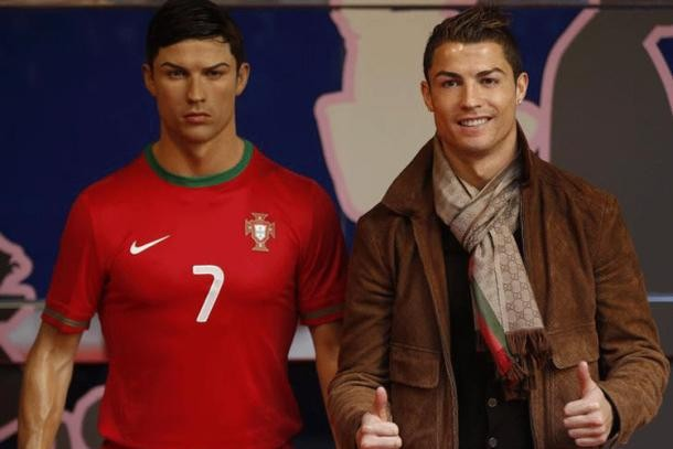 Ronaldo with His Wax Statue
