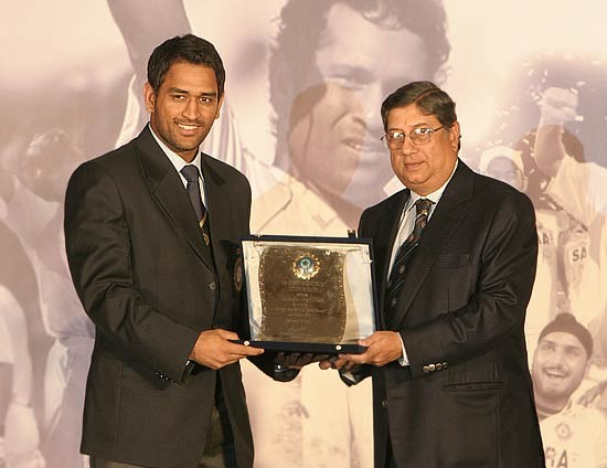 Dhoni with BCCI Award