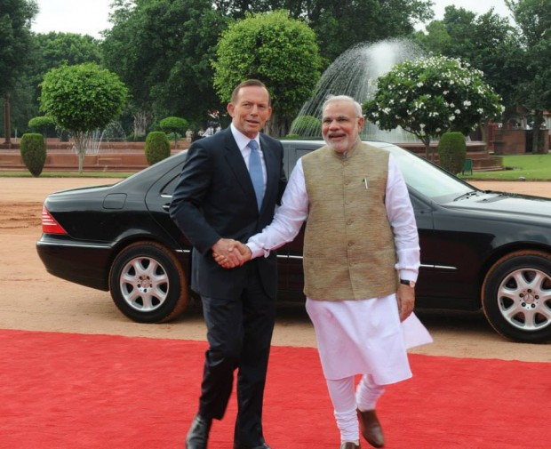 Narendra Modi Welcoming Australia PM Tony Abbott in India