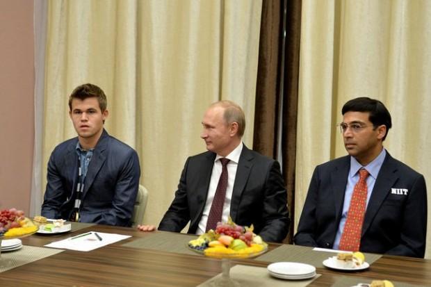 Vishy Anand With Russia President Vladimir Putin
