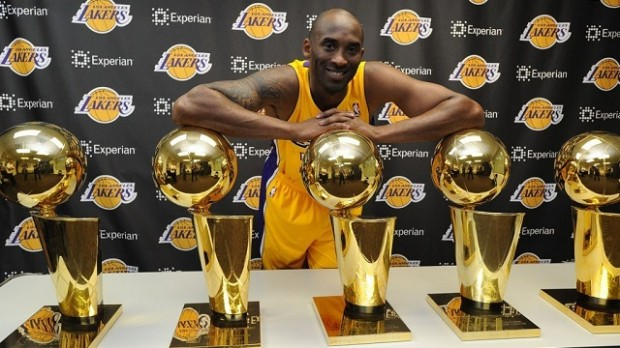 Kobe with Trophies