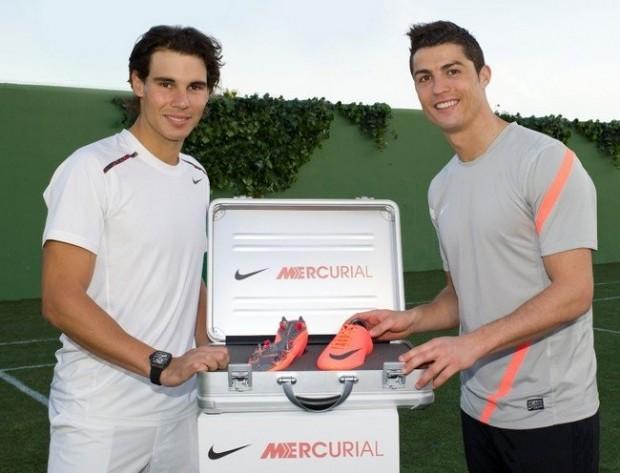 Ronaldo with Rafael Nadal