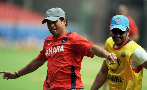 Dhoni with Sachin Tendulkar in Practice Sessions