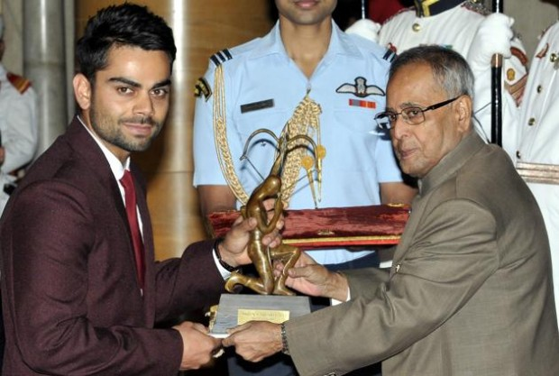 Kohli Receiving Arjuna Award