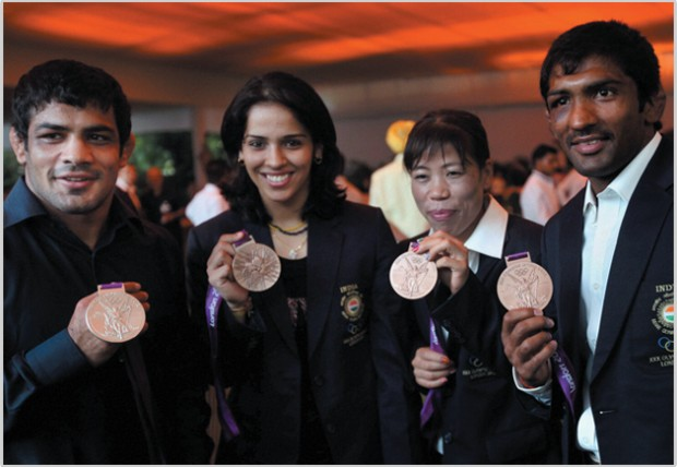 Saina Nehwal with London Olympic Medalists
