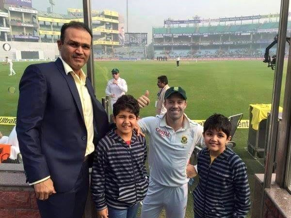 AB Devilliers with Sehwag and Sehwag's Kids