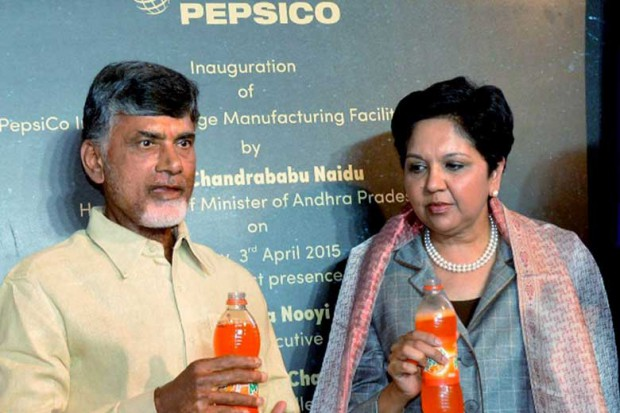 Andhra Pradesh Chief Minister N. Chandrababu Naidu with PEPSICO Chairperson and CEO Indra Nooyi
