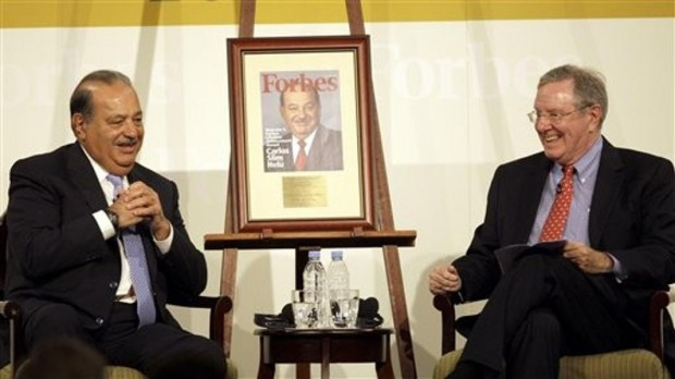 Carlos Slim Helu with Steve Forbes