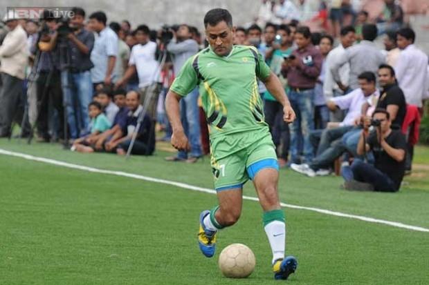Mahi Playing Exhibition Football Match