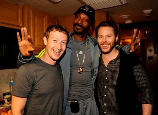 Mark Zuckerberg with Snoop Dogg and Sean Parker