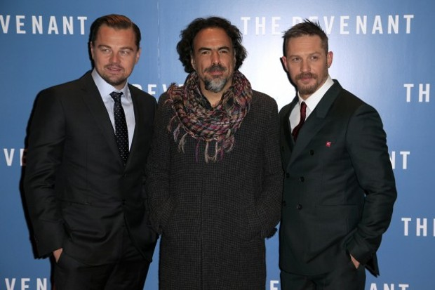 Tom Hardy With Leonardo Dicaprio and Alejandro González Iñárritu