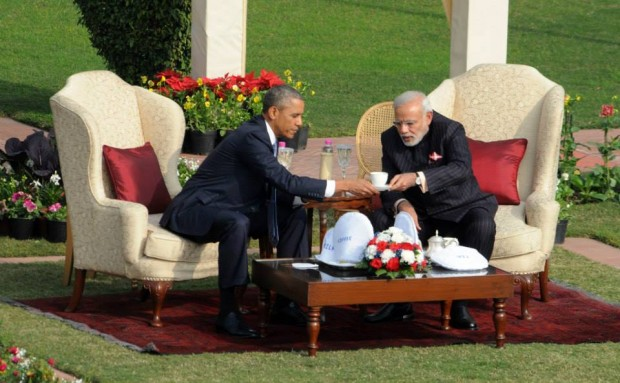 Modi Having Tea with US President Barack Obama