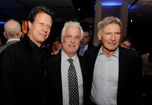 Harrison Ford with Gavin Hood and Rob Friedman